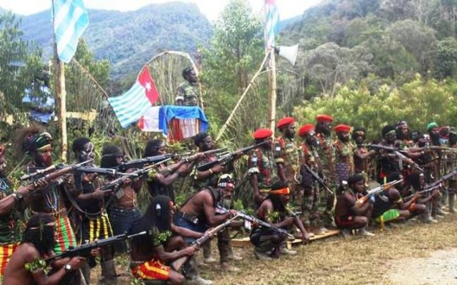 West Papua Liberation Army at the issuance of a declaration of war against Indonesian security forces. Photo: Supplied